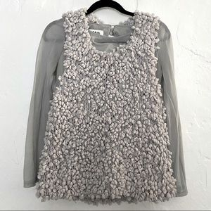 MM6 MAISON Margiela gray sweater vest long sleeve